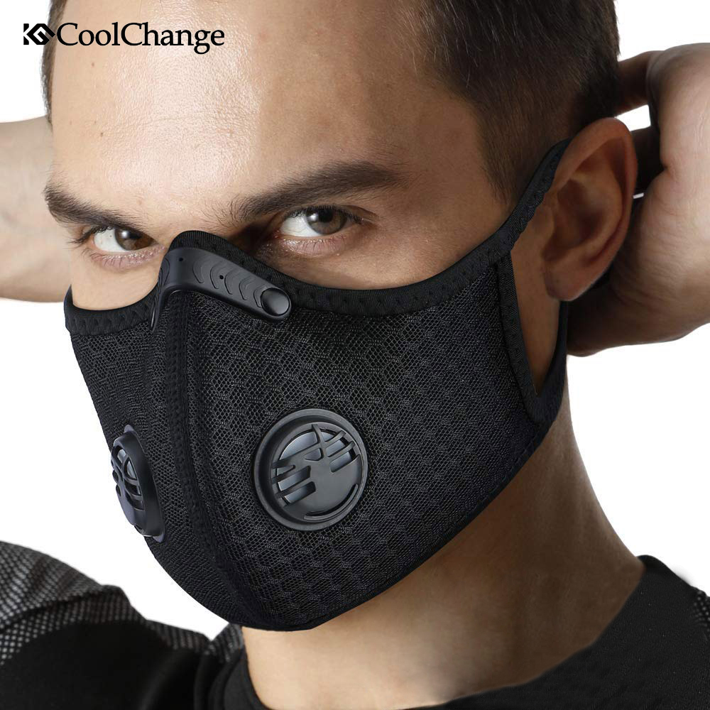 CoolChange KN95 PM2.5 Coronavirus Dust Mask Activated Carbon With Filter Anti-Pollution Cycling Sport Bicycle MTB Bike Face Mask title=