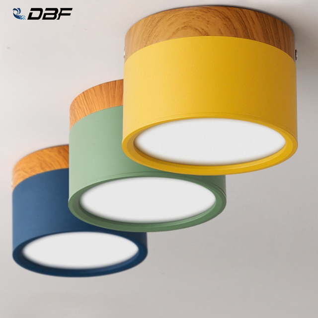 [DBF]Macaroon Iron+Wood LED Ceiling Light 5W 12W Surface Mount Ceiling Spot Light for Bar Kitchen