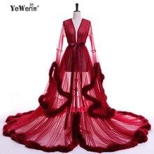 Vestido de festa Evening Dress Robe De Soiree V Neck Feathers Long Tulle Party Dresses 2017 Burgundy pink prom dresses