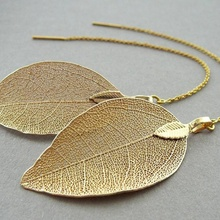 Vintage Gold Hollow Leaf Dangle Earrings Handmade Leaves Dangling Long Statement Earrings Gold Silver Color Jewelry for Women