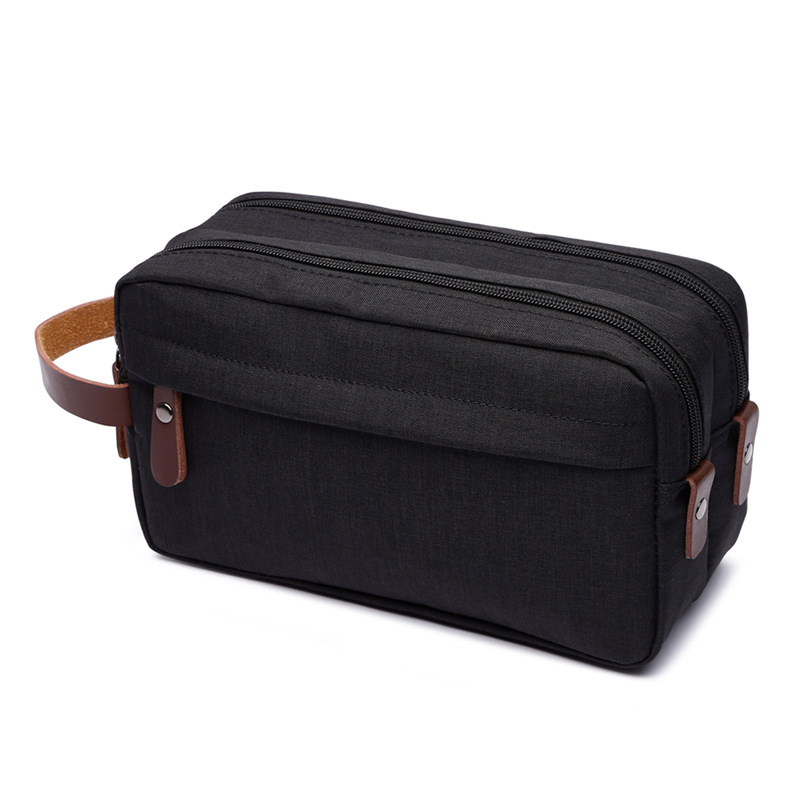 Casual Canvas Cosmetic Bag With Leather Handle Travel Men Wash Shaving Women Toiletry Storage Waterproof Toilet Organizer Bag