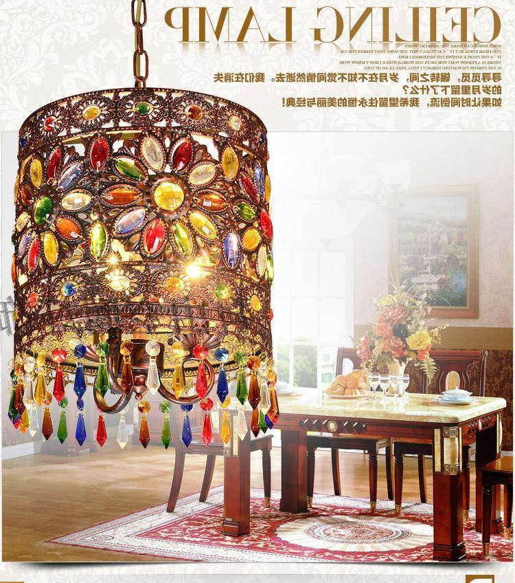 Mediterranean Retro Bohemian Crystal Pendant Lamp Hallway Cozy Creative Lamp Bar Corridor Luminaria Pendente