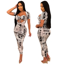 Old Newspapers Letter Print Two Piece Bodycon Bandage Dress Halter Crop Top Maxi Dresses Long Sexy Club Wear Vestidos