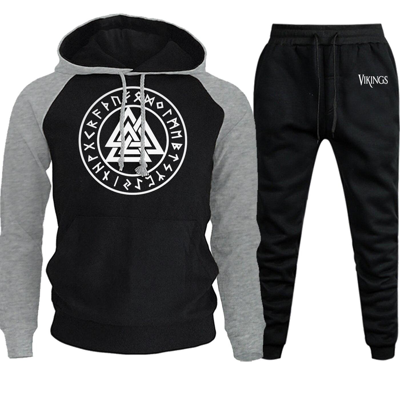 Sweatshirts Raglan Vikings Symbols Men Hooded Hot Sale Autumn Winter Casual Hoodies Suit Male Fleece Pullover+Pants 2 Piece Set