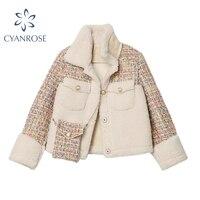 Cappotto invernale in lana di agnello caldo da donna in pile Shaggy Thicke moda Casual Patchwork da donna tasca corta Teddy Jacket Outwear top