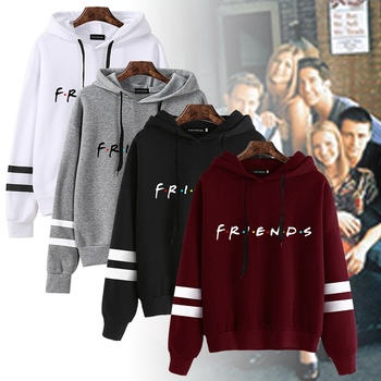 FRIENDS Hoodies Women Casual Letter Print Plus Size Oversized Women Sweatshirt Female Fashion Hooded Pullovers Moletom Sudaderas goplus women s sweatshirt lace up oversized hoodies streetwear pink yellow pullovers bluzy damskie sudaderas para mujer c9613