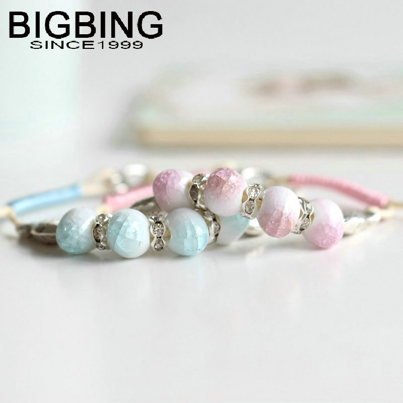 C153 BIGBING Jewelry Fashion ceramic fish charm Bracelet Hand knitting bracelet high quality