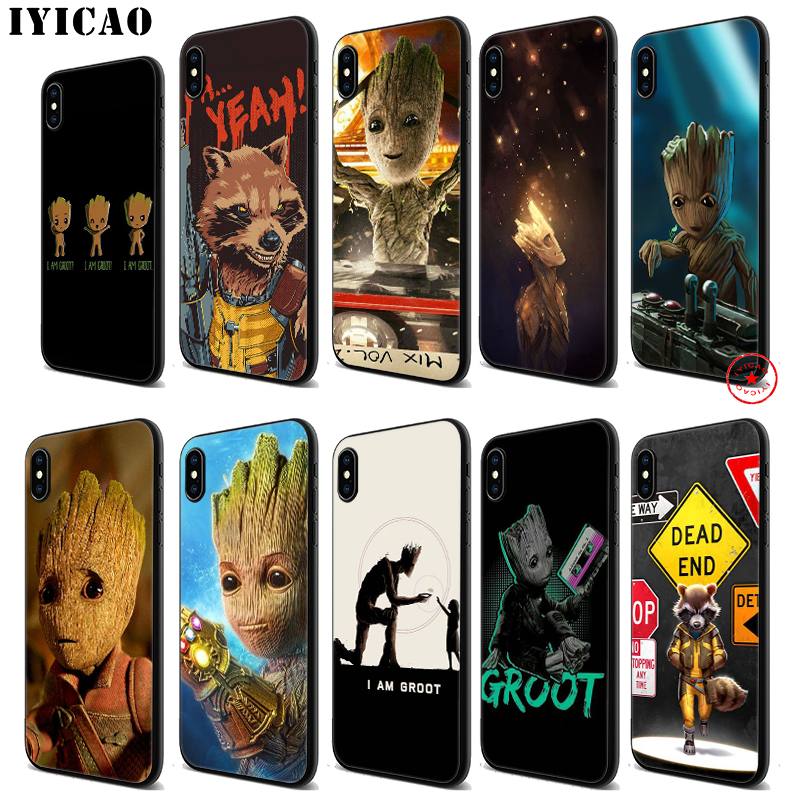 IYICAO Guardian Groot Raccoon Soft Black Silicone Case for iPhone 11 Pro Xr Xs Max X or 10 8 7 6 6S Plus 5 5S SE