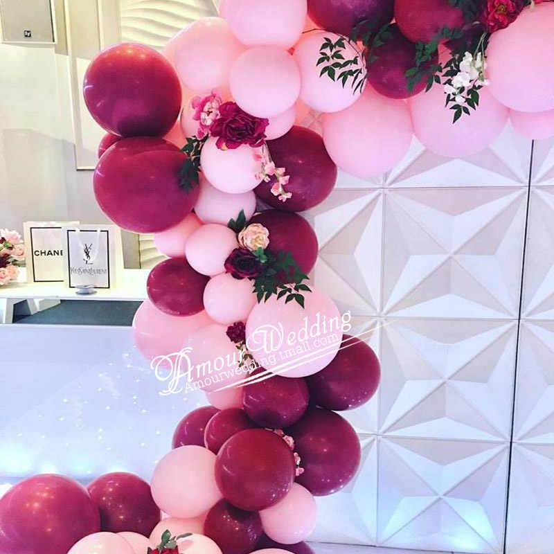 10pcs10/12inch wine red pink rose gold girl wedding confetti balloon wedding dessert birthday theme party decoration