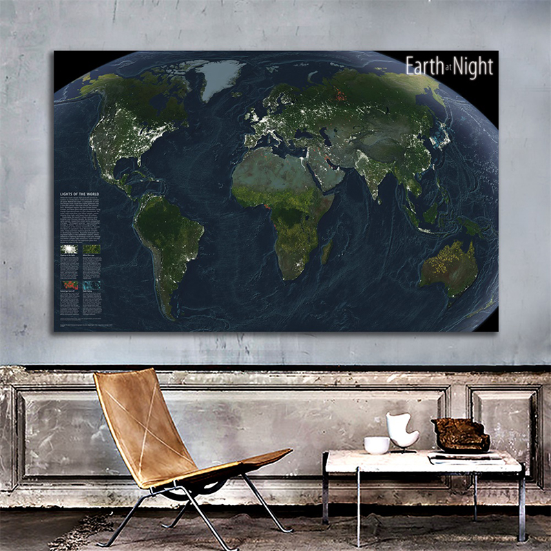 World Map Wall Poster 150x225cm Earth At Night National Geographic The Light Of The World Non-woven World Satellite Map Painting