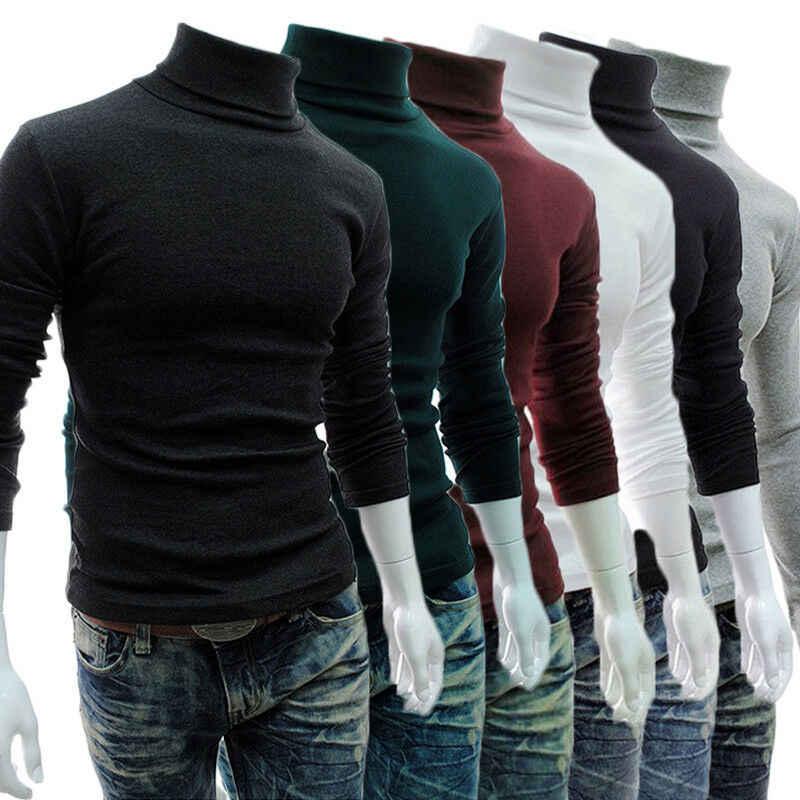 Nieuwe 2019 Herfst Coltrui Plain Black heren Pullover Casual Jersey Mens Gebreide Merk Koreaanse Stijl Kleding