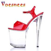 2020 passarela mostra tubo de aço dança mulher sapatos plataforma sandálias estilo verão sexy ultra salto alto 20 cm sandálias transparentes