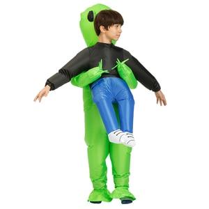 Image 5 - 新しいpurim怖いグリーンエイリアン衣装コスプレマスコットインフレータブル衣装モンスタースーツパーティーハロウィーンの衣装子供アダルト