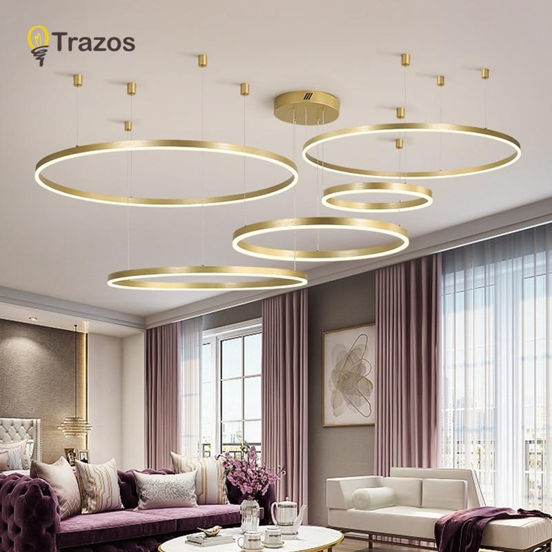 Lustres d'éclairage de luxe en or, lustres en verre pour le salon de cuisine, chaîne de suspension du Loft, lustre en or pour chambre, industriel