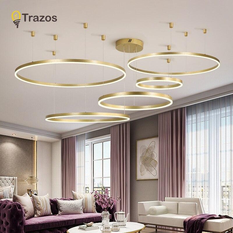 Luxury LED Chandeliers Lighting For Kitchen Living Room Loft Hanging Chain Nordic Gold Chandelier Bedroom Lamp Lustre Industriel