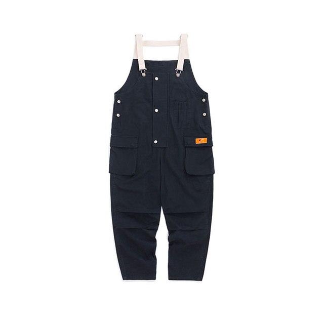 2020 New Cotton Men's Pockets Buttons Loose Bib Overalls Hip Hop Suspenders Jumpsuits Coveralls Blue Khaki Men's Shorts 2