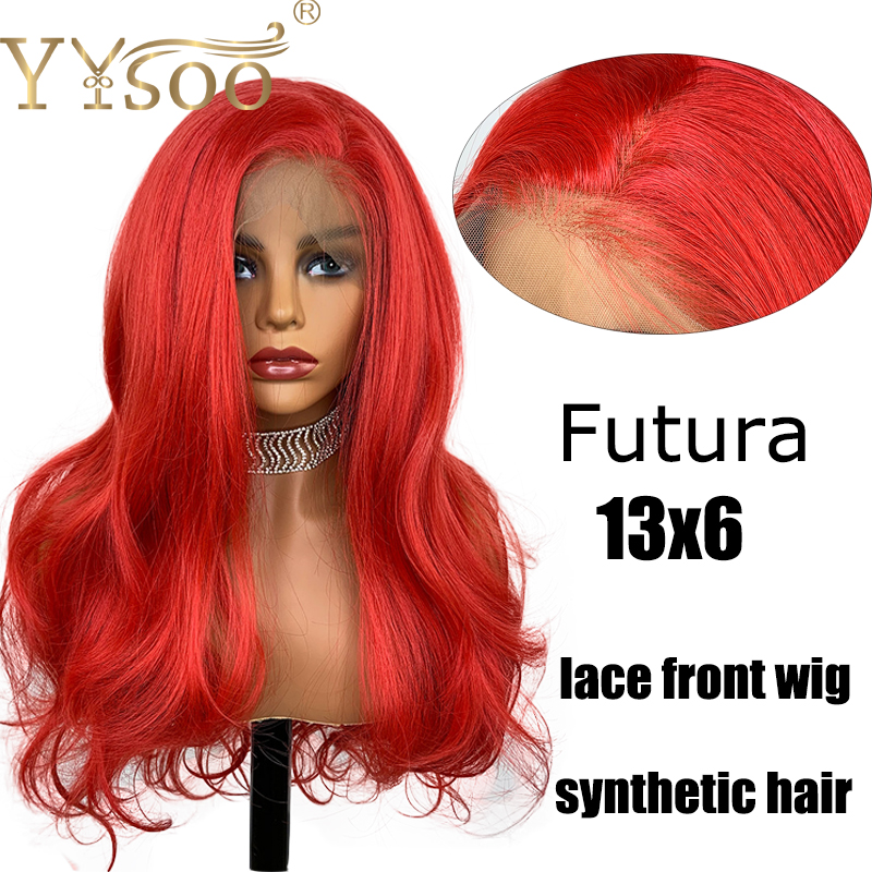 YYsoo 13X6 Lace Front Wigs For Women Lace Frontal Japanese Futura Fiber Hair Synthetic Wigs Long Body Wave Red Color Daily Use