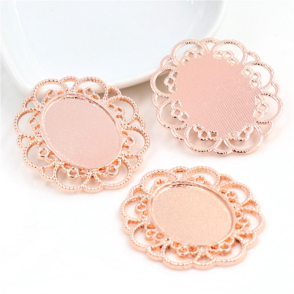 5pcs 18x25mm Inner Size Rose Gold Color Flower Style Cameo Cabochon Base Setting Charms Pendant Necklace Findings (C1-21)