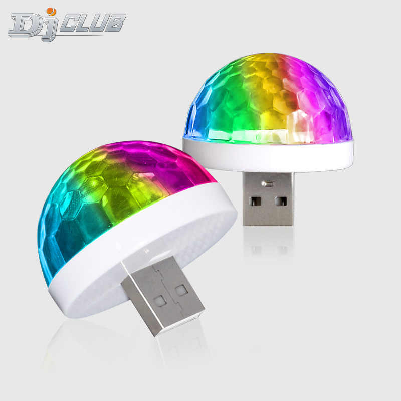 Mini Magic Ball, mini Auto Usb Luce Del Partito Del Dj Led Rgb Colorful Lampada per USB-C Del Telefono di Musica di Controllo Del Suono di Musica Sfera Magica