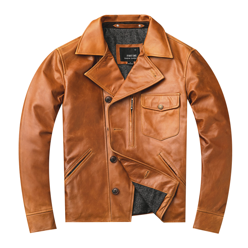 2019 Men's Oil Wax Sheepskin Jackets Genuine Cowhide Leather Jackets Yellow Motocycle Leather Coat for Male