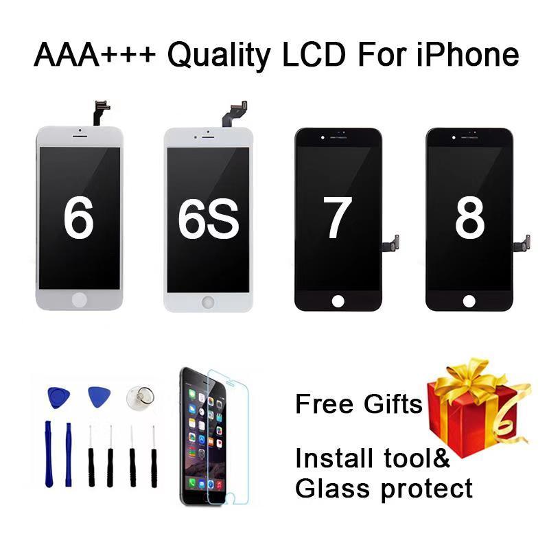 Qualidade perfeita aaa + + + para iphone 7 lcd tela de 4.7 polegadas diaplay 100% nenhum pixel morto pantalla para iphone 6 s 7 8 lcd com presentes