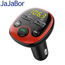 цена на JaJaBor FM Transmitter FM Modulator Bluetooth 5.0 Handsfree Car Kit Audio MP3 Player Support TF Card U Disk Playback