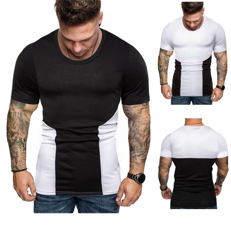 Mens Tight-Fitting Short-Sleeved T-shirt Fitness Organization Body Fitness Gyms Fitness Splicing Cotton T-shirt