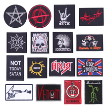 Iron On Patches For Clothing Punk Skull Badge Stickers On Fabric Apparel Garment Sew On Stripes For Jeans Embroidery On Clothes on