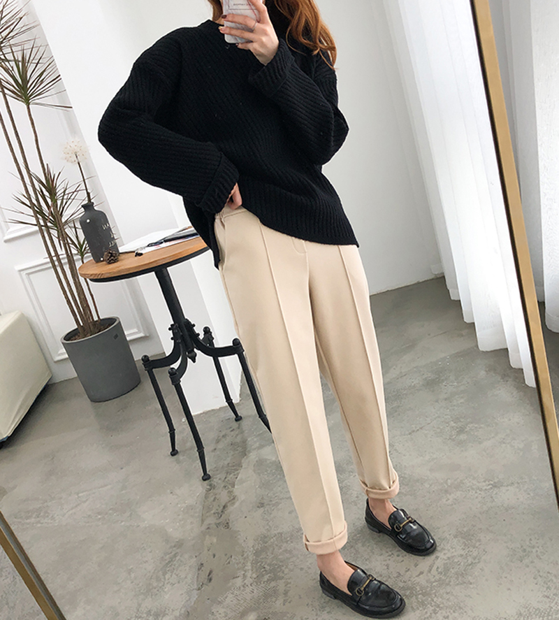 H0f2f1c57142246e490dbaa5e4f53cad6L - Thicken Women Pencil Pants Autumn Winter Plus Size OL Style Wool Female Work Suit Pant Loose Female Trousers Capris 6648 50