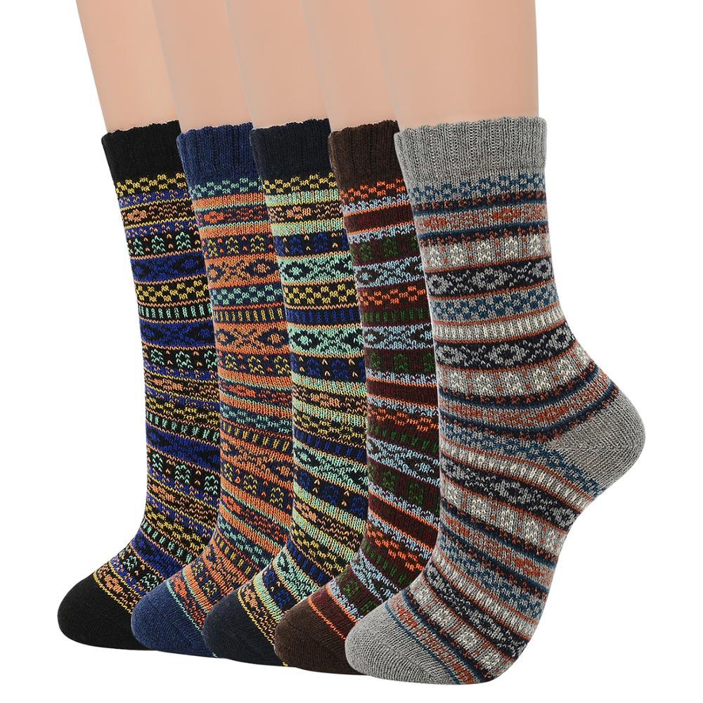 Men Soft Thick Angora Cashmere Casual Rabbit Wool Blend Warm Winter Socks High Quality Retro Pattern Cotton Men Crew Socks