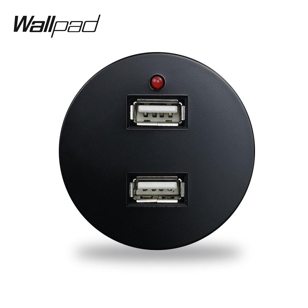 Wallpad L6 Black White 2.4A Double USB Charging Port Wall Socket Module Match L6 Plates Free Combination DIY