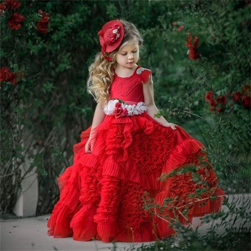 Belle robes de fille de fleur rouge Occasion spéciale pour les mariages ébouriffés enfants robes de reconstitution historique dentelle Applique robe de première Communion