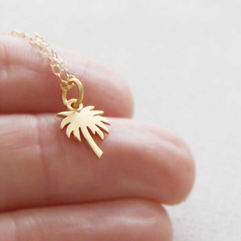 Vòng Cổ Choker Vàng Cây Cọ Mặt Vòng Cổ Collier Femme Thép Không Gỉ Dây Chuyền Vòng Đeo Cổ Cho Nữ Đảo Cuộc Sống BFF Trang Sức