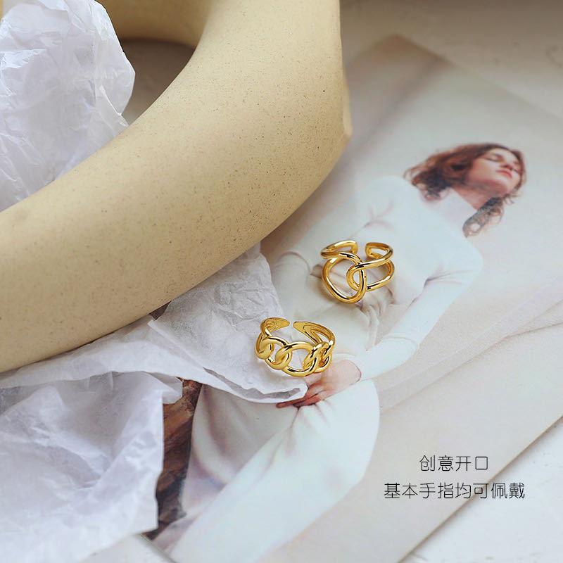 XIYANIKE 925 en argent Sterling mode à la mode exagérée chaîne croix anneau femme Cool Design Index doigt à la main bijoux cadeau 4