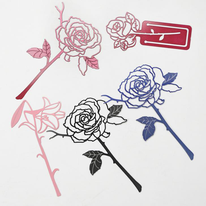 1 Pcs Kawaii Hollow Lily Rose Flower Metal Bookmarks Stainless Steel Book Marker Page Clips Stationery Students Gifts