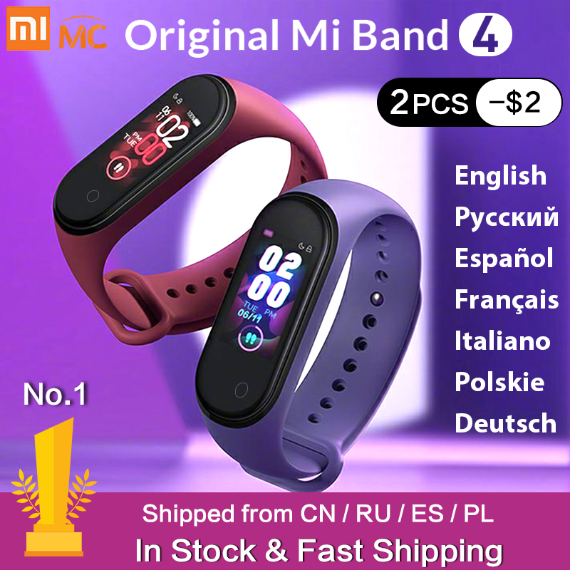 Em estoque original xiao mi banda 4 mi banda inteligente 3 tela colorida pulseira de freqüência cardíaca fitness rastreador bluetooth5.0 band4 à prova dwaterproof água