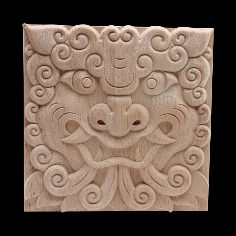 Onlay Wood Applique Wood Decal  Wood Figurines Retro Exquisite Unpainted Carved Long Flower Leaves Wooden Furniture Corner Doors