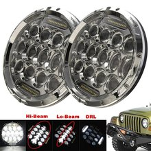 1 Pair 75W 7inch Chrome Headlamp 12V Replacement Projector LED Headlight with White DRL for Jeep Wrangler JK Hummer