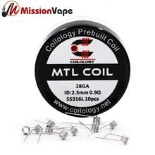 Coilology 316SS MTL Coil 28GA 0.9ohm 10pcs Prebuilt Coils 2.5mm Diameter