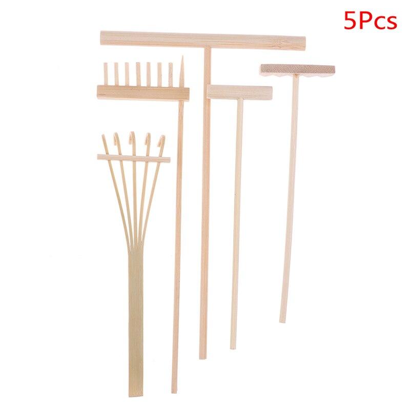 4pcs / 5Pcs Bamboo Zen Garden Rake Meditation Tools Home Decoration Relaxation Handcrafted