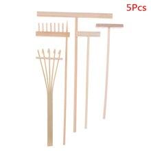4 Uds./5 uds. Bambú Zen jardín rastrillo herramientas de meditación decoración del hogar relajación artesanal