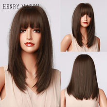 HENRY MARGU Dark Brown Medium Long Bob Synthetic Wigs with Bangs Layered Hair Natural Straight Wigs for Women High Temperature