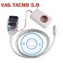 VAG TACHO 5.0 USB 인터페이스 최신 버전 Audi/VW/Skoda/Seat 12V 차량용 녹색 PCB FTDI FT245RL 최신 VAG TACHO USB5.0