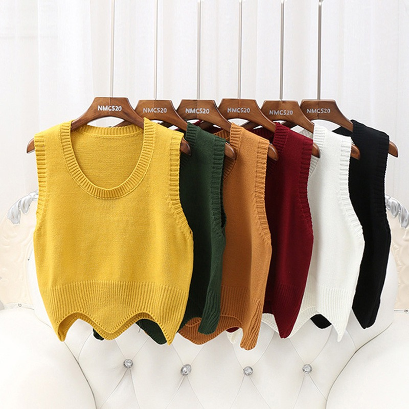 Solid Color Knit Vest Autumn Fashion Simple Women Sweater O Neck Sleeveless Short Pullover Sweater Vest Wavy Edge Warm Tank Tops