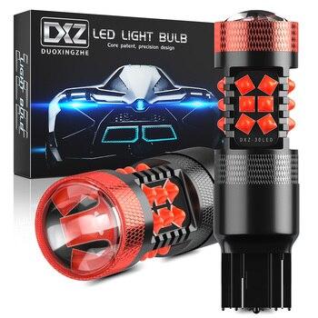 цена на DXZ 2pcs Canbus T20 7440 LED W21/5W W21W Bulbs 30-SMD 1200LM 12V Lens Car LED Turn Signal Reverse Brake Light Bulb HD No Error