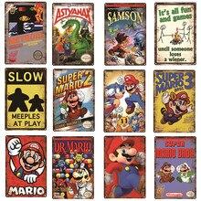 Aviso jogos de vídeo angry games decoração cartaz de metal estanho sinal placa de jogo super mario série posters de metal vintage