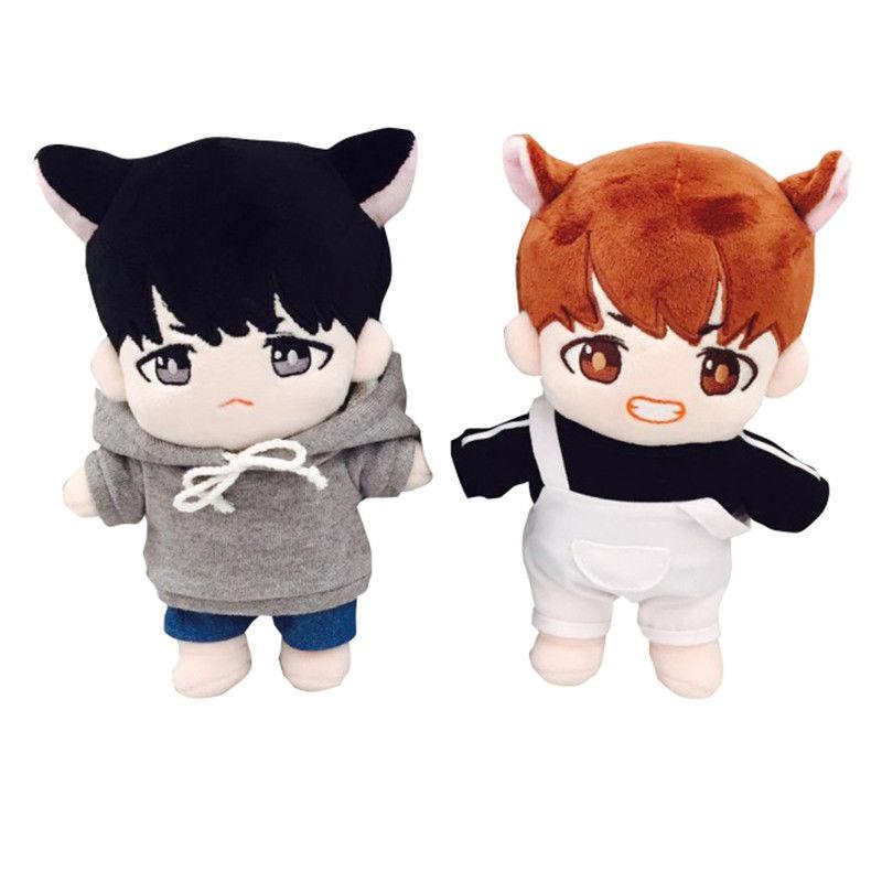 Korea Hip Hop Cute Plush Toys Stuffed Dolls With Clothes Plush Doll Toys Soft Cotton Toy Collection Birthday Children Fans Gift