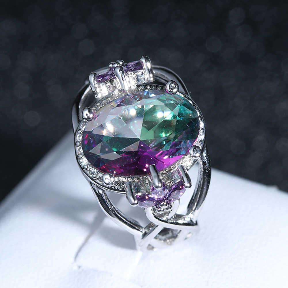 925 סטרלינג Zilveren טבעת Kleurrijke AAA Zirkoon Aristocratische Elegante Mannen En Vrouwen Verlovingsring Sieraden Cadeau
