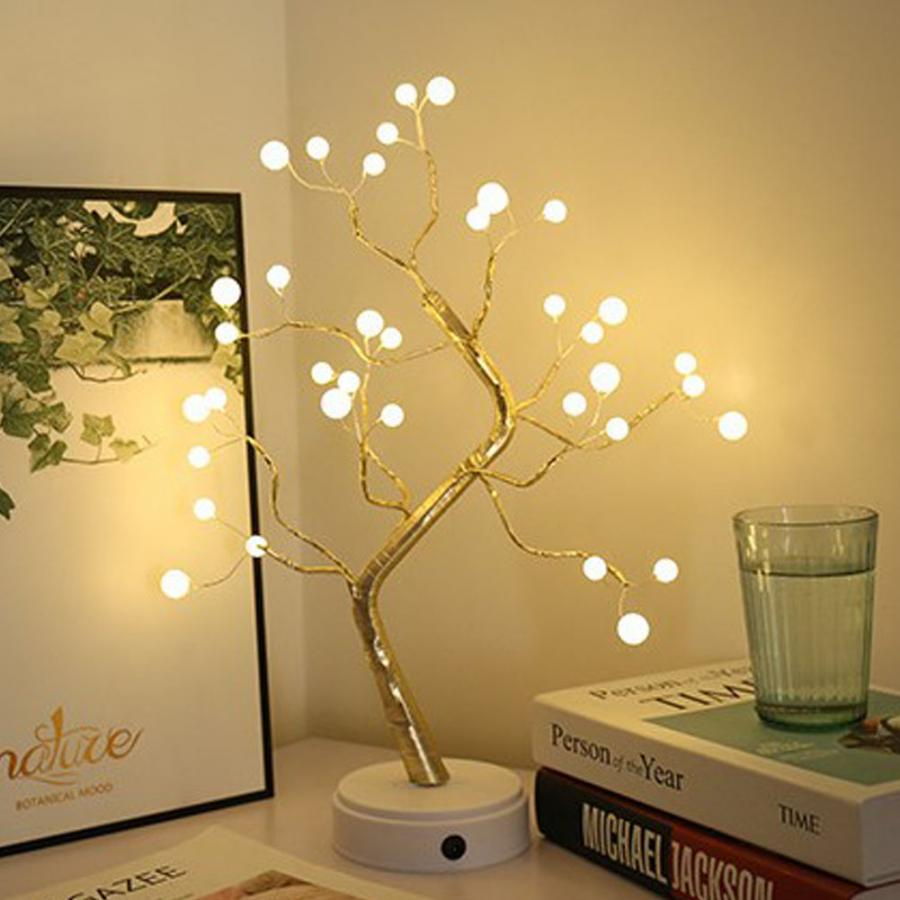 LED Pearl Tree Lights Night Light USB Table Decoration Lamp For Party Bedroom And Gift For Family