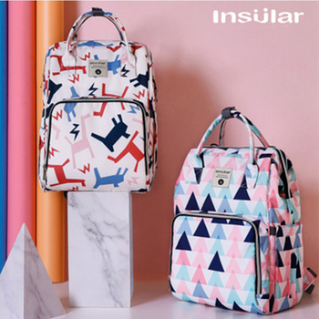 Insular Mummy Maternity Nappy Backpack Fashion Diaper Bag Waterproof Large Capacity Travel Baby Bag Nursing Bag for Baby Care insular brand floral pattern mommy maternity bag waterproof nylon large capacity baby care nappy bag mother tote nursing bag